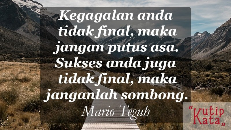 motto hidup orang sukses - Mario Teguh